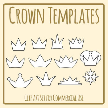 Crown Templates - Blank Clip Art Set for Commercial Use