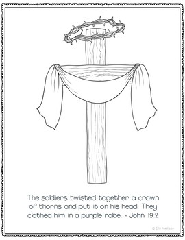 Crown of Thorns Coloring Page Craft or Poster, Bible Verse, Easter, Purple Robe
