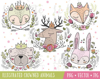 Crowned Forest Animal Portraits, Woodland Clip Art