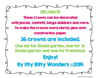 Crowns for Kindergarten, Jr. Kindergarten and Preschool / Many Occasions