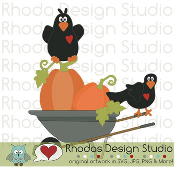 Crows and Pumpkins Fall Clipart