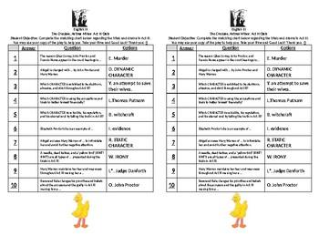 Crucible Act III Quiz (Regular)
