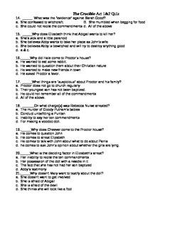 Crucible Acts 1 & 2 Quiz