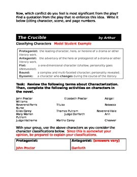 Crucible -- Classifying Characters and Conflicts