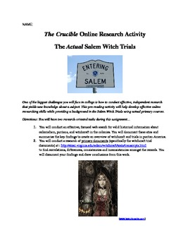 Crucible Pre-Reading Witchcraft Webquest Project