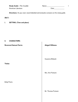 Crucible Study Guide Set for Acts 1-4 **Updated