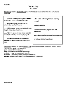 Crucible Vocabulary Worksheets using Roots_ContextClues