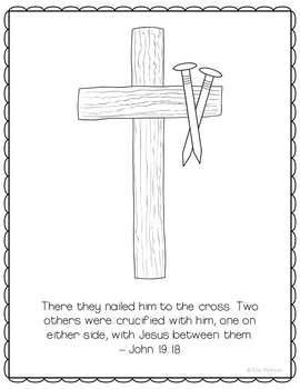Crucifixion Coloring Page Craft or Poster, Bible Verse, Easter, Cross and Nails