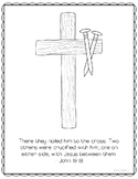 Crucifixion Coloring Page Craft or Poster, Bible Verse, Ea