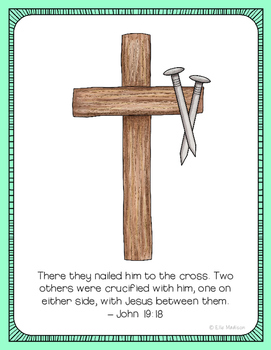 Crucifixion Poster, Class Decor, Holiday Sign, Bulletin Board, Easter