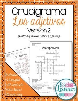 Crucigrama - Adjectives Crossword Puzzle (Noun & Adjective Agreement)