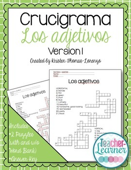 Crucigrama- Adjectives Crossword Puzzle (Physical Traits & Hair/Eye Colors)