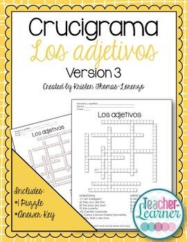 Crucigrama - Adjectives Crossword Puzzle (Ser & Adjectives
