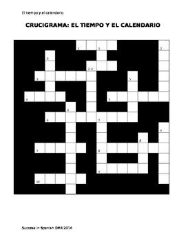 Crucigrama - Crossword - El tiempo y el calendario - Weath