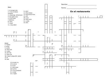 Crucigrama Crossword La comida / En el restaurante