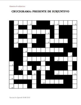 Crucigrama - Crossword - Present Subjunctive - Presente de