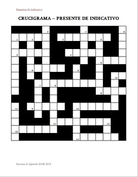 Crucigrama - Crossword - Present Tense - Presente de indicativo