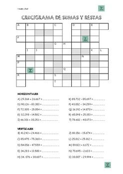 Crucigrama de sumas y restas