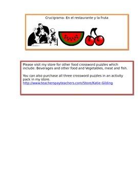 Crucigrama- el restaurante y las frutas