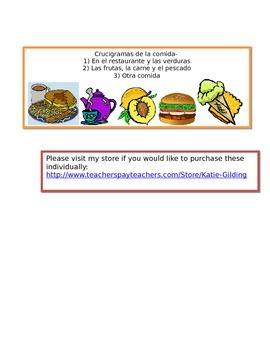 Crucigramas de la comida activity pack