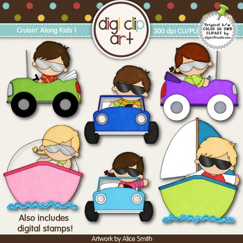 Cruisin' Along Kids 1-  Digi Clip Art/Digital Stamps - CU Clip Art