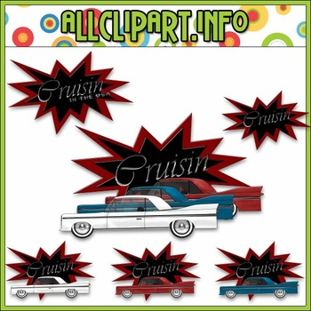 $1.00 BARGAIN BIN - Cruisin Clip Art (Red & Black)