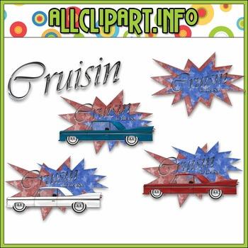 $1.00 BARGAIN BIN - Cruisin Clip Art (Red, White & Blue)