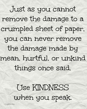 Crumpled Paper Kindness Bullying Classroom Poster Motivation Character Ed