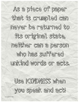 Crumpled Paper Kindness Bullying Classroom Poster Motivation Character Ed PDF