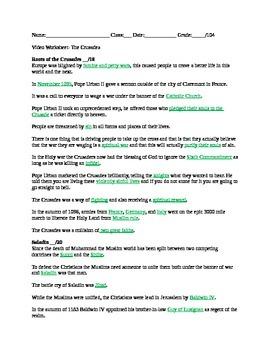 Crusade Videos Worksheet By Katie Wilson S History Tpt