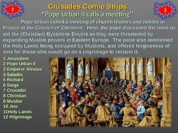 Crusades Comic Strip Activity: fun engaging informative 21-slide PPT