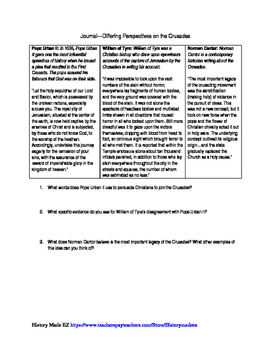 Crusades Differing Perspectives- Primary Source Documents