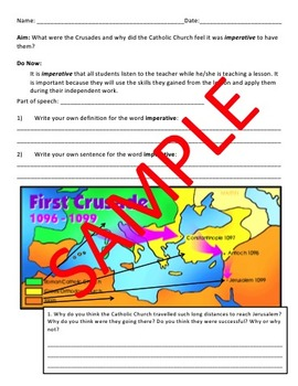 Crusades Lesson - Reading Comprehension with Exit Assessment