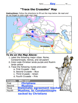 Crusades Map / Trace the First, Second, Third, and Fourth Crusades