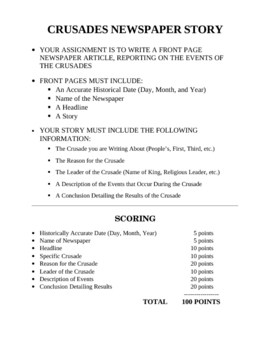 Crusades Newspaper Front Page worksheet project writing