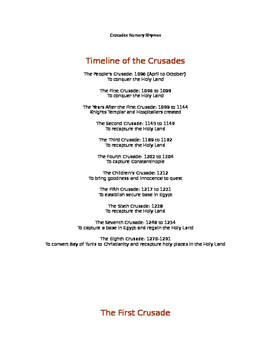 Crusades Nursery Rhymes Activity