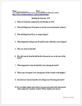 Crusades Primary Source Worksheet: 7th Crusade Battling the Saracens