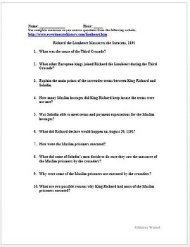 Crusades Primary Source Worksheet: Richard the Lionheart Massacres the Saracens