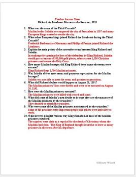 Crusades Primary Source Worksheet Richard The Lionheart Massacres