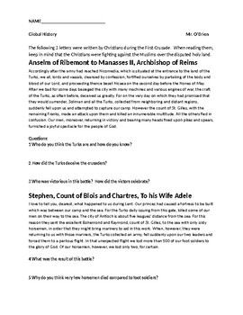 Crusades Primary Sources Worksheet