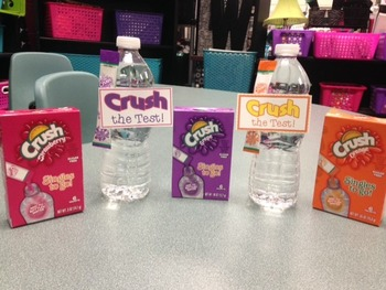 Crush the Test! Water Bottle Labels for Testing Motivation and Encouragement