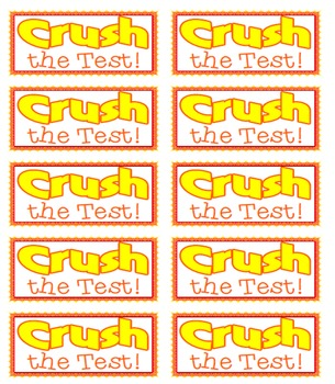 Crush the Test! Water Bottle Labels for Testing Motivation