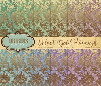 Crushed Velvet Gold Damask Digital Paper Backgrounds
