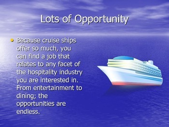 Crusie Ship Career PowerPoint for Career Exploration In Hospitality