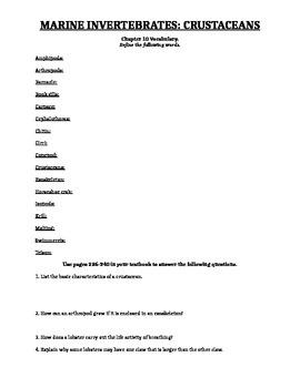 Crustaceans Worksheet