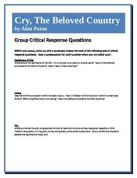 Cry, The Beloved Country - Paton - Group Critical Response Questions