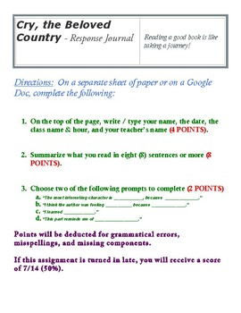Cry, the Beloved Country - Response Journal