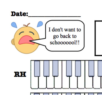 Crying Babies Themed Piano Lesson Assignment Sheet *BACK TO SCHOOL*