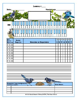 Bluejays Themed Piano Lesson Assignment Sheet *BIRDS*