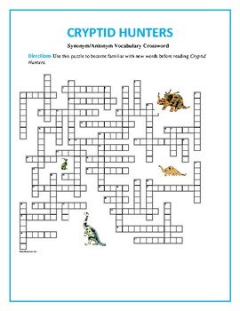 Cryptid Hunters: 50-word Prereading Crossword--Familiarizes students beforehand!